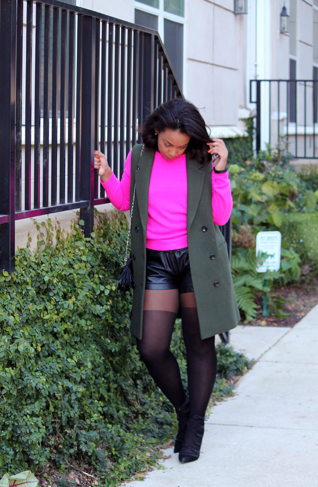 3-mango-sleeveless-olive-blazer-forever-21-hot-pink-sweater-club-monaco-leather-shorts-asos-tights-zara-tie-up-shoes.jpg