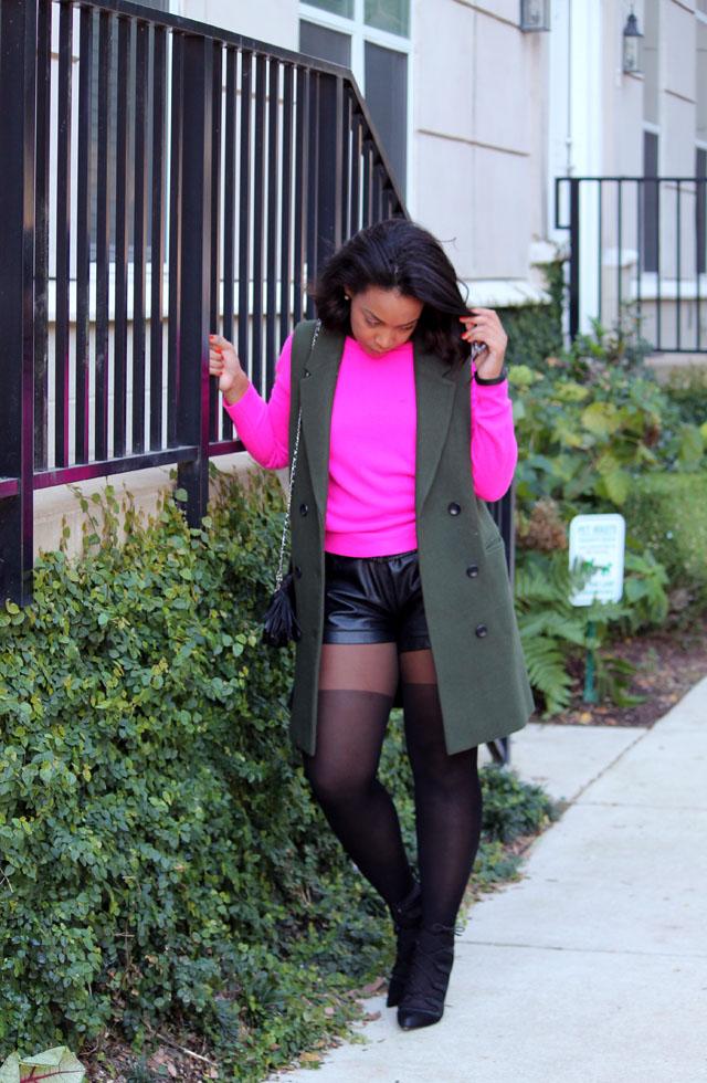3-mango-sleeveless-olive-blazer-forever-21-hot-pink-sweater-club-monaco-leather-shorts-asos-tights-zara-tie-up-shoes.jpg