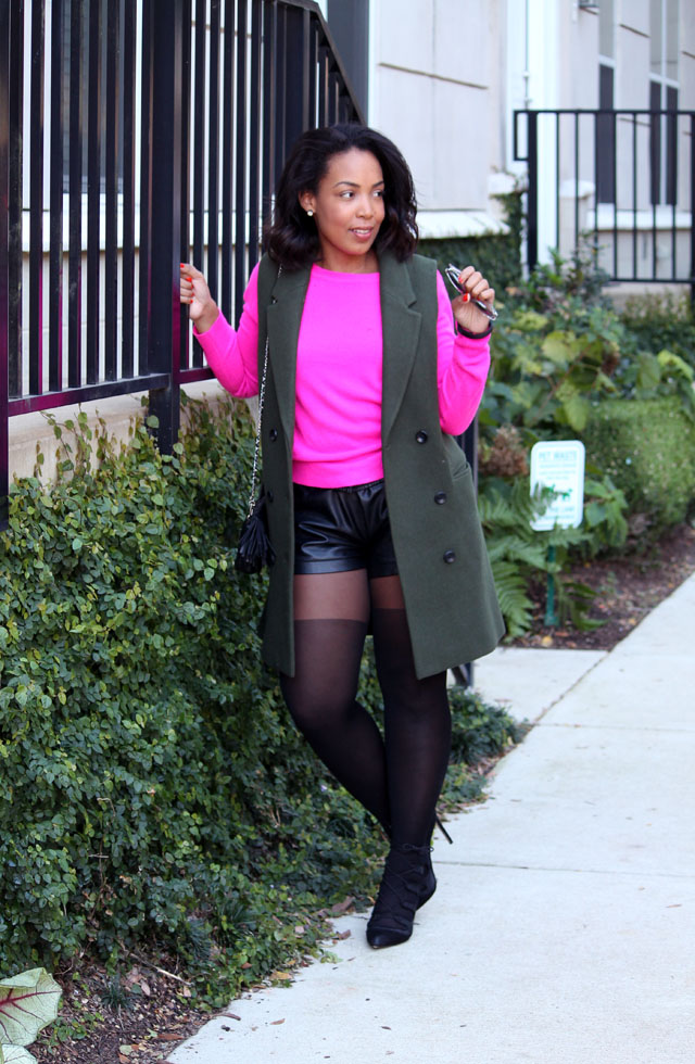 4-mango-sleeveless-olive-blazer-forever-21-hot-pink-sweater-club-monaco-leather-shorts-asos-tights-zara-tie-up-shoes.jpg