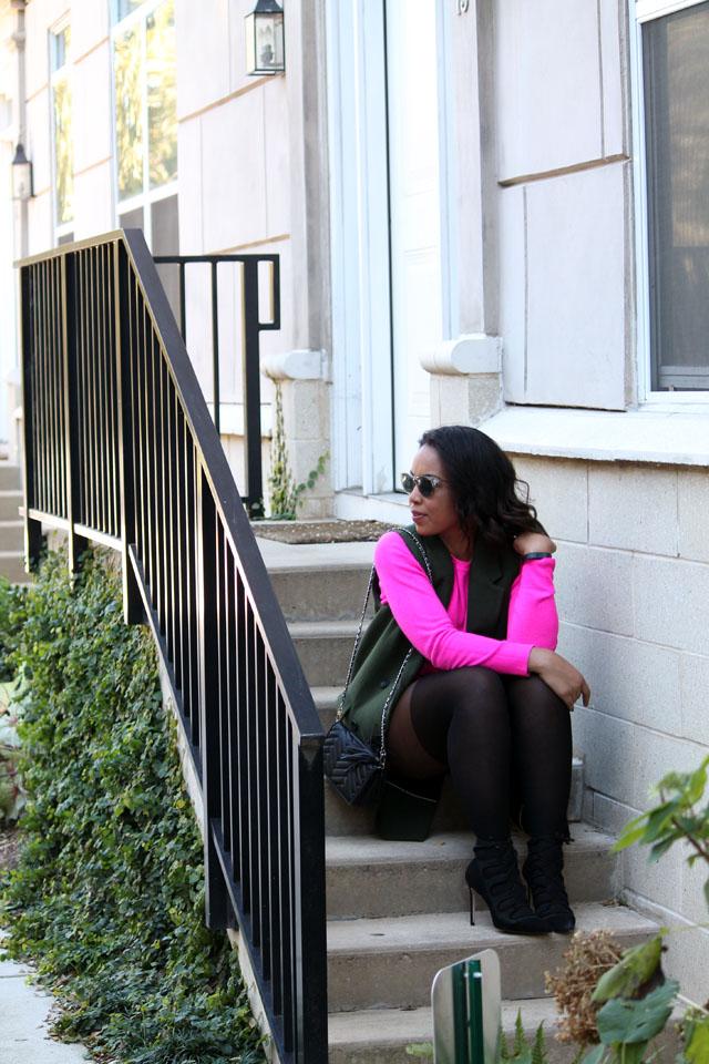 6-mango-sleeveless-olive-blazer-forever-21-hot-pink-sweater-club-monaco-leather-shorts-asos-tights-zara-tie-up-shoes.jpg