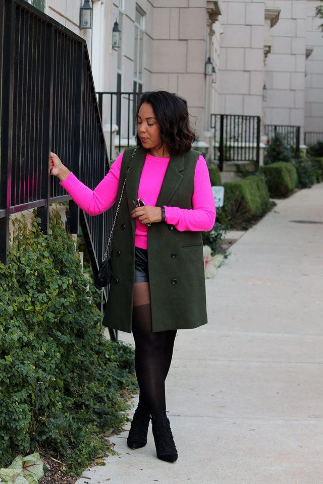 5-mango-sleeveless-olive-blazer-forever-21-hot-pink-sweater-club-monaco-leather-shorts-asos-tights-zara-tie-up-shoes.jpg