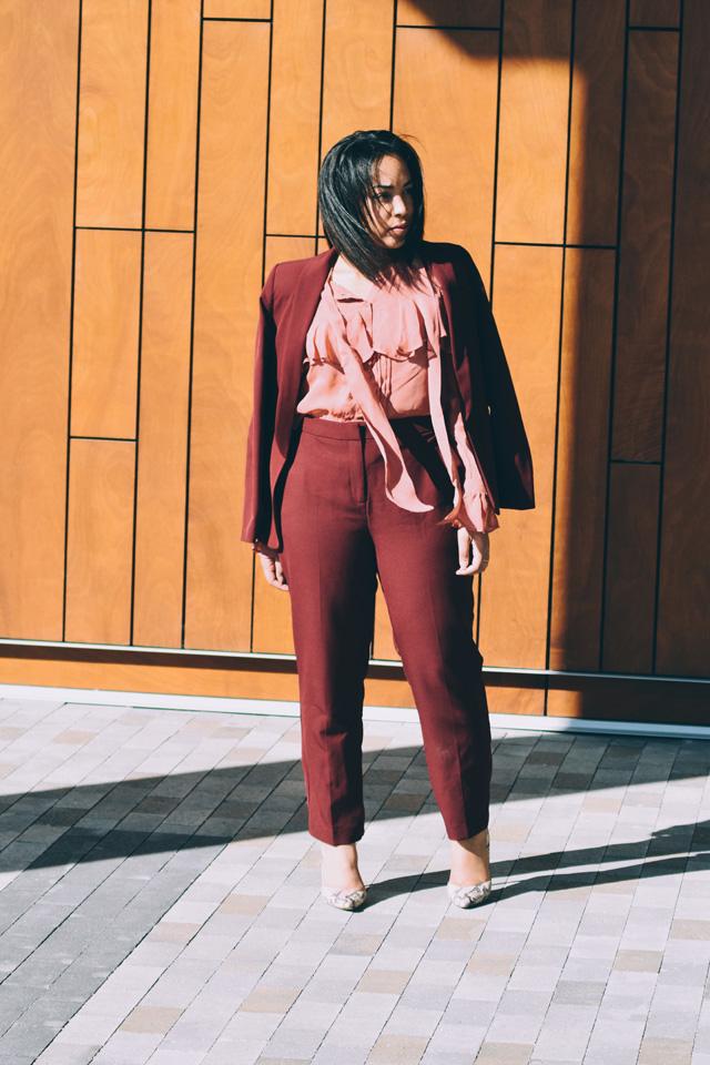 7-asos-burgundy-suit-asos-pink-ruffle-blouse-nine-west-snakeskin-pumps-workwear-fashion-suit.jpg