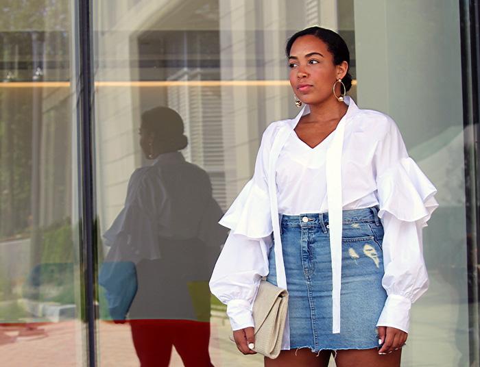 Robinson-Style-Shop-Oversized-Ruffle-Blouse-Gap-Denim-Mini-Skirt-Forever-21-leather-lace-up-sandals-Forever-21-ball-hoop-earrings-3.jpg