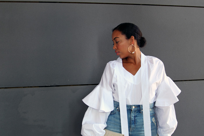 Robinson-Style-Shop-Oversized-Ruffle-Blouse-Gap-Denim-Mini-Skirt-Forever-21-leather-lace-up-sandals-Forever-21-ball-hoop-earrings-4.jpg