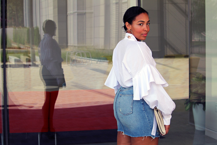 Robinson-Style-Shop-Oversized-Ruffle-Blouse-Gap-Denim-Mini-Skirt-Forever-21-leather-lace-up-sandals-Forever-21-ball-hoop-earrings.jpg