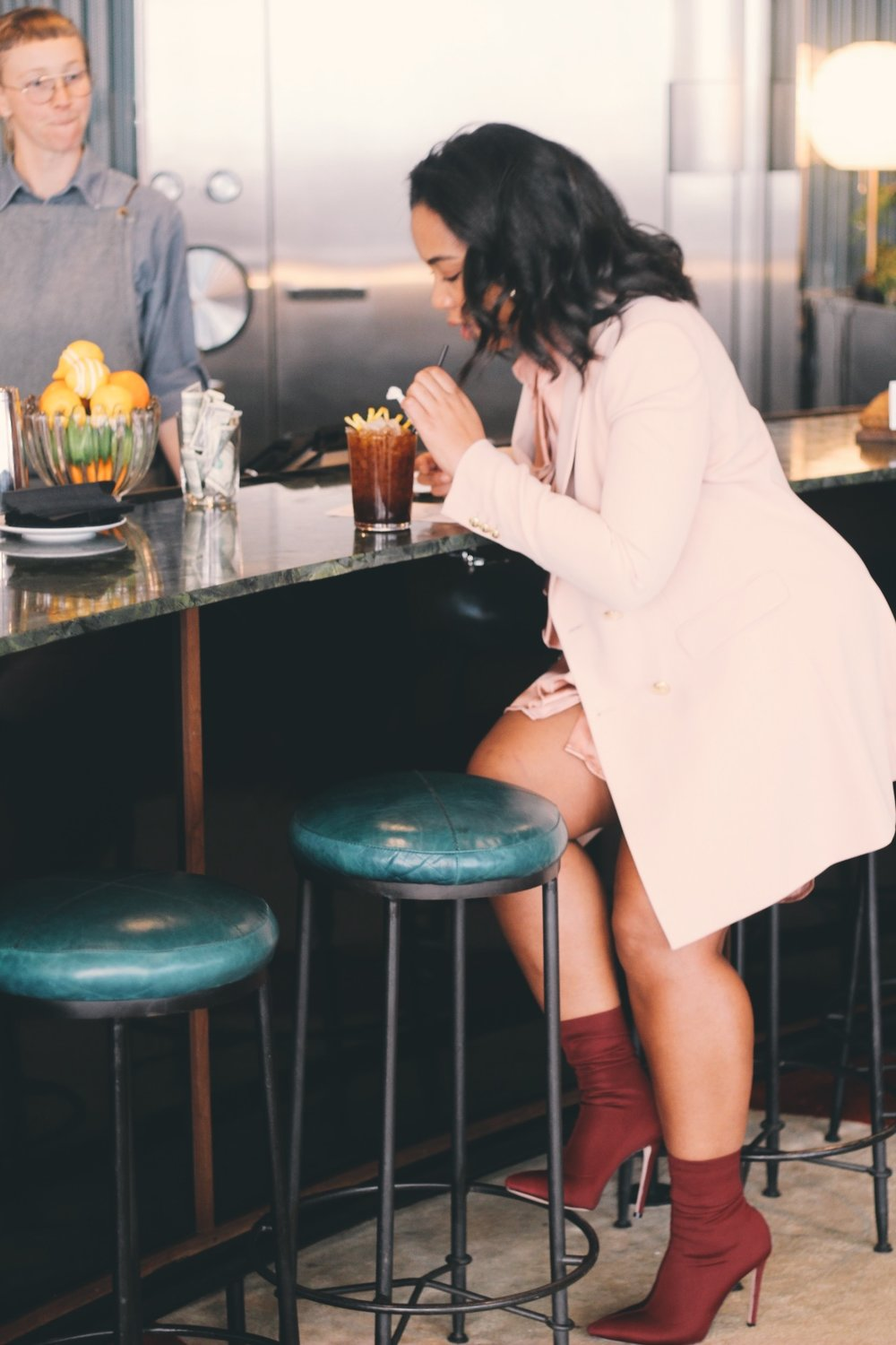 Durham-Hotel-Robinson-Style-Zara-blazer-dress-ruffle-shirt-dress-raid-asos-sock-boots-15.JPG