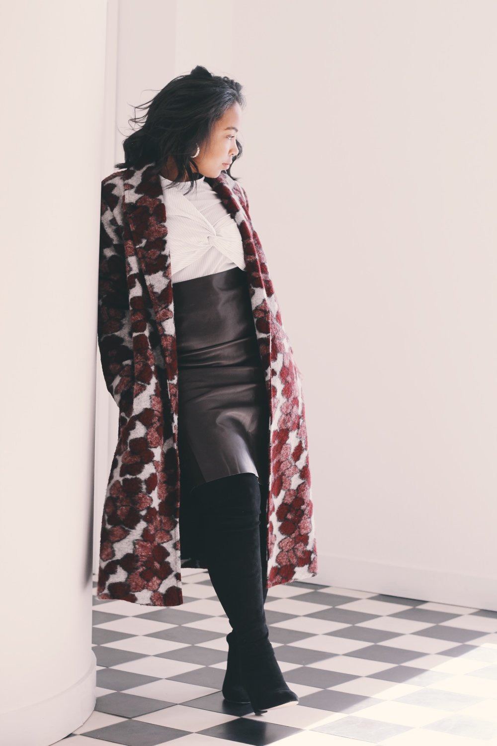 Durham-Hotel-Robinson-Style-rent-the-runway-hutch-floral-coat-milly-stripe-top-loft-leather-pencil-skirt-asos-over-the-knee-boot.JPG-2.JPG