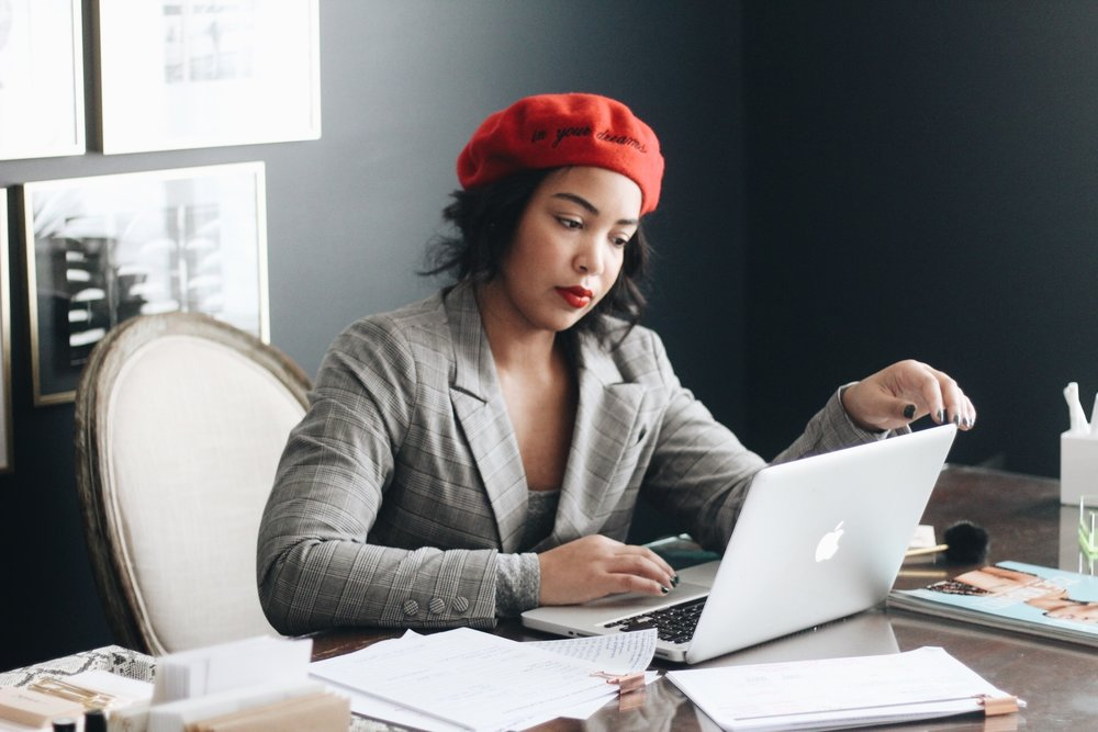 5-tips-for-working-from-home-beret-plaid-blazer-home-office.JPG