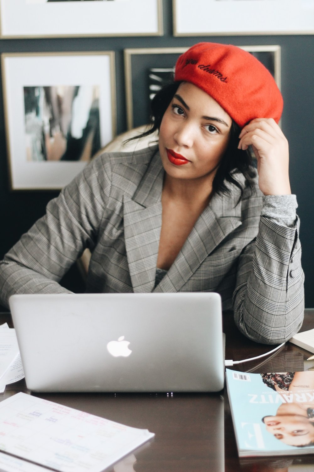 5-tips-for-working-from-home-beret-plaid-blazer-home-office-7.JPG