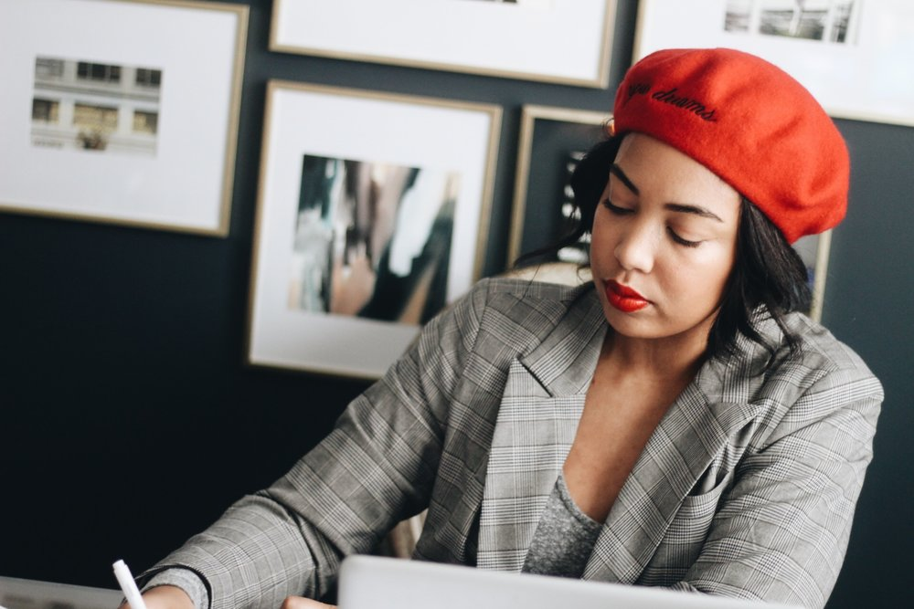 5-tips-for-working-from-home-beret-plaid-blazer-home-office-5.JPG