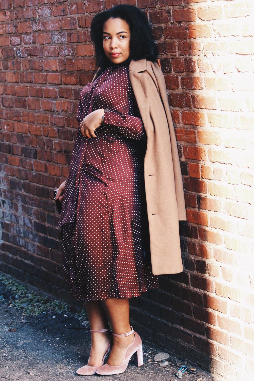 Zara-polka-dot-blouse-and-skirt-urban-outfitters-camel-coat-coach-saddle-bag-topshop-gracie-velvet-heels-similar-aquazurra-alix-pumps-womens-workwear-fashion-2.JPG