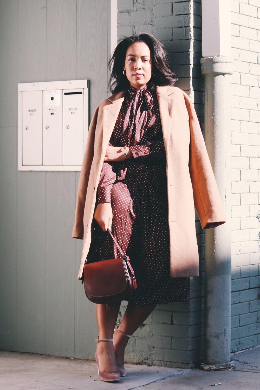 Zara-polka-dot-blouse-and-skirt-urban-outfitters-camel-coat-coach-saddle-bag-topshop-gracie-velvet-heels-similar-aquazurra-alix-pumps-womens-workwear-fashion-7.JPG