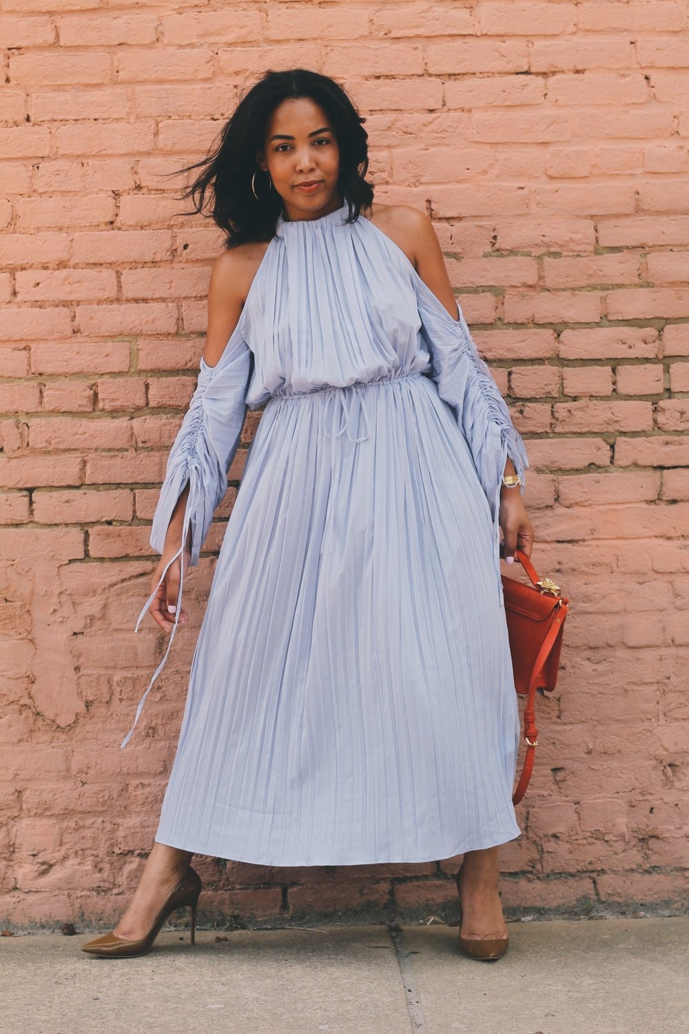2-Warehouse-UK-asos-pleated-cold-shoulder-dress-in-lavender-zara-orange-suede-bag-House-of-CB-paris-nude-pumps.JPG