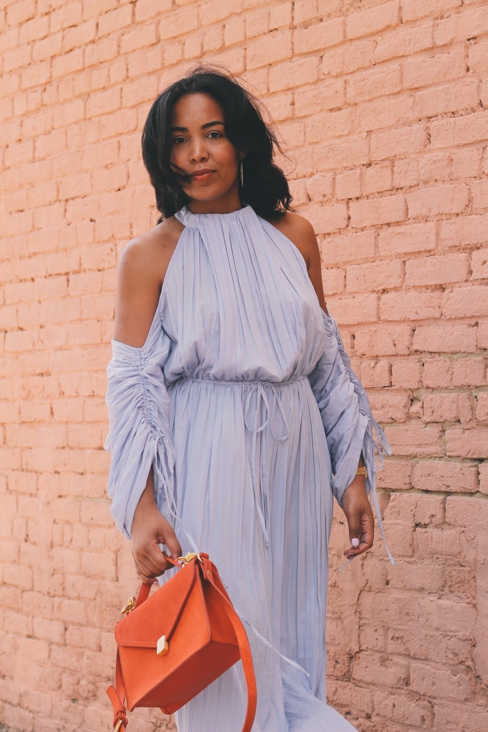 Warehouse-UK-asos-pleated-cold-shoulder-dress-in-lavender-zara-orange-suede-bag-House-of-CB-paris-nude-pumps-5.JPG