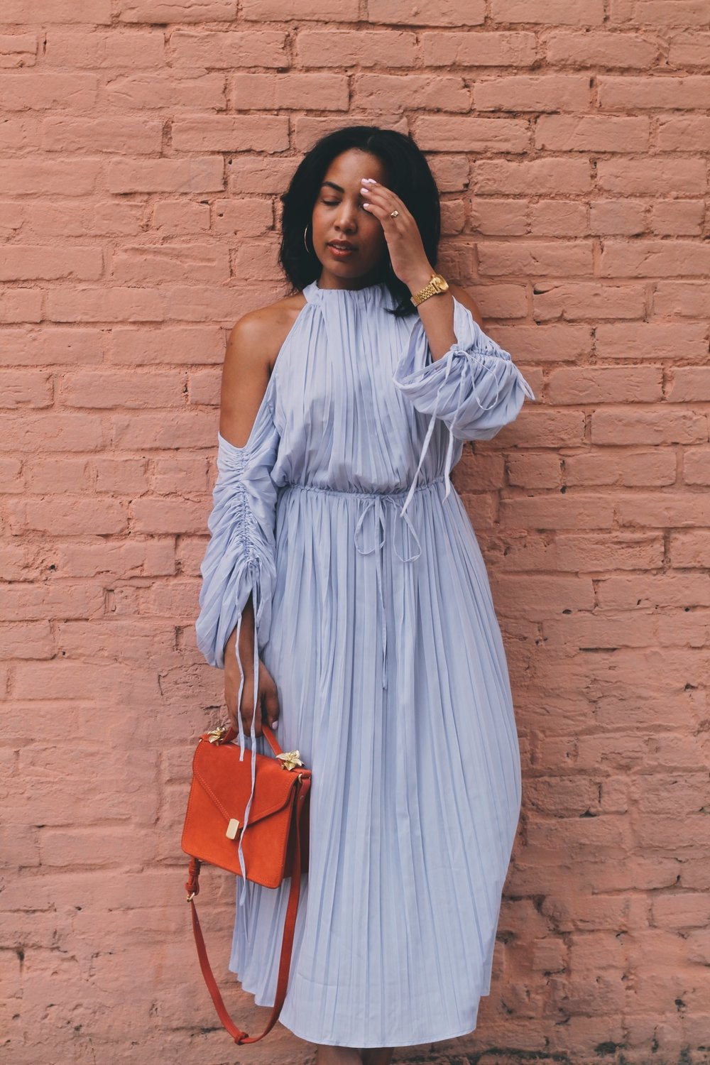 Warehouse-UK-asos-pleated-cold-shoulder-dress-in-lavender-zara-orange-suede-bag-House-of-CB-paris-nude-pumps-6.JPG
