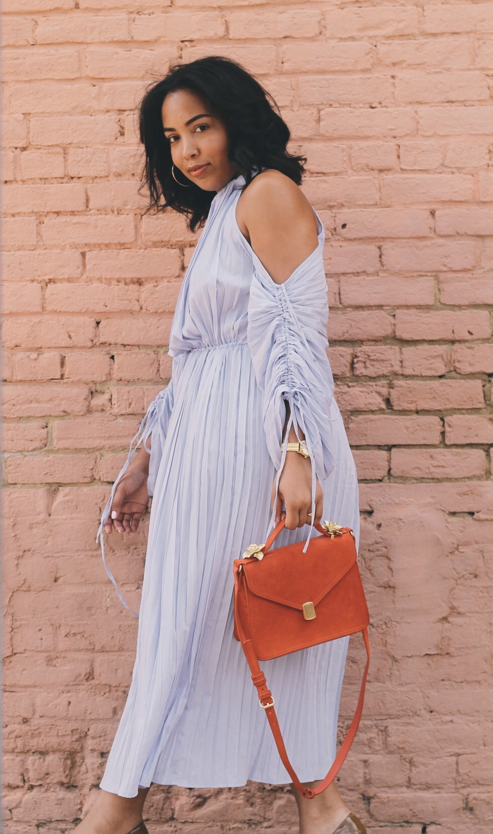 Warehouse-UK-asos-pleated-cold-shoulder-dress-in-lavender-zara-orange-suede-bag-House-of-CB-paris-nude-pumps-8.jpg