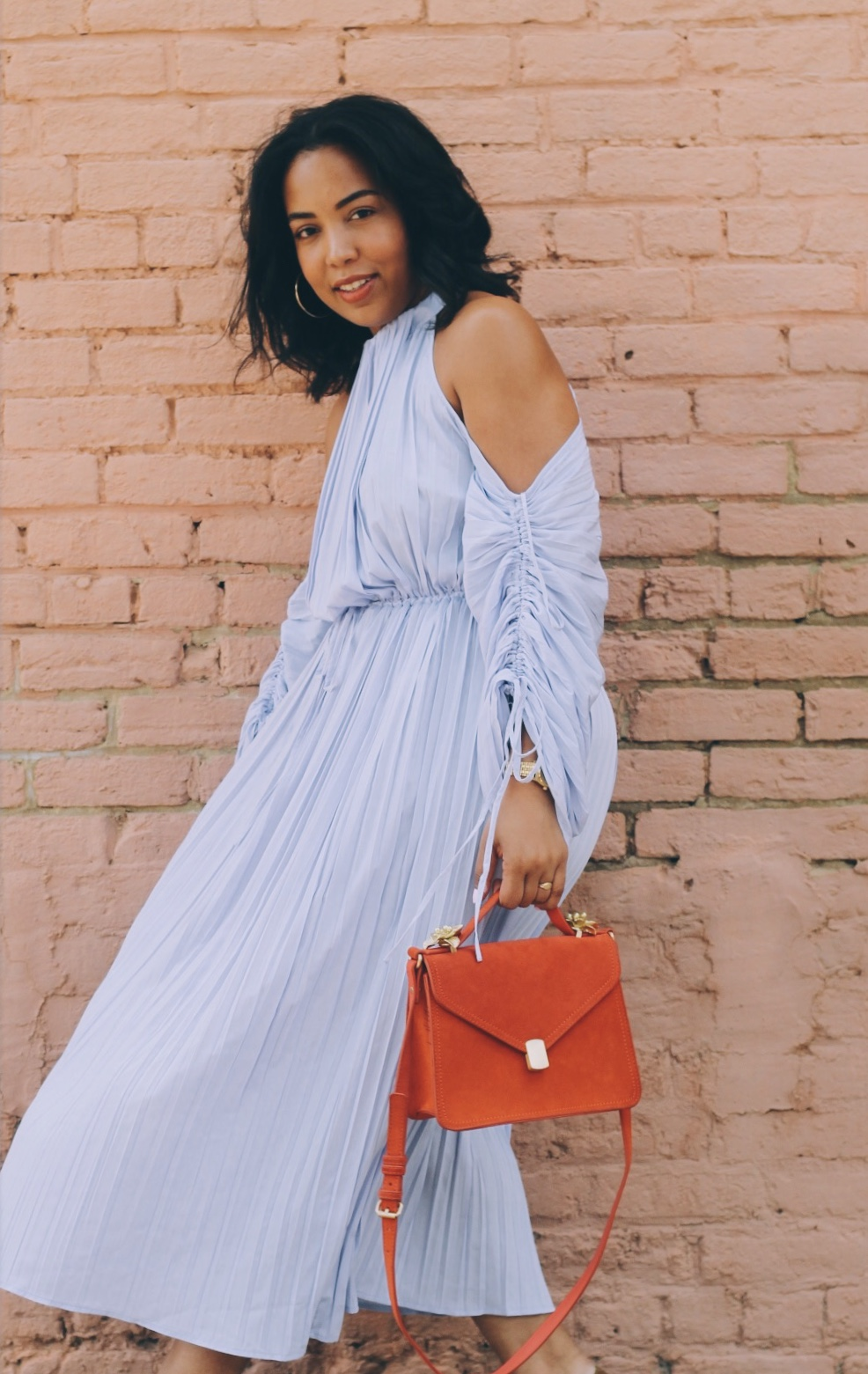 Warehouse-UK-asos-pleated-cold-shoulder-dress-in-lavender-zara-orange-suede-bag-House-of-CB-paris-nude-pumps.jpg