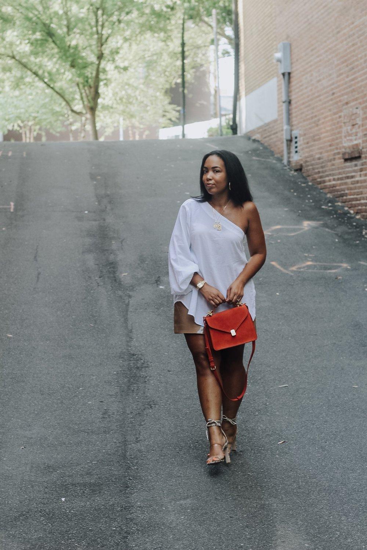 ASOS-weekday-one-shoulder-blouse-patent-nude-mini-skirt-zara-orange-suede-bag-simmi-shoes-veronica-snakeskin-heels-2.JPG