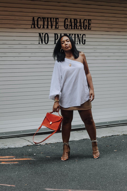 ASOS-weekday-one-shoulder-blouse-patent-nude-mini-skirt-zara-orange-suede-bag-simmi-shoes-veronica-snakeskin-heels-3.JPG