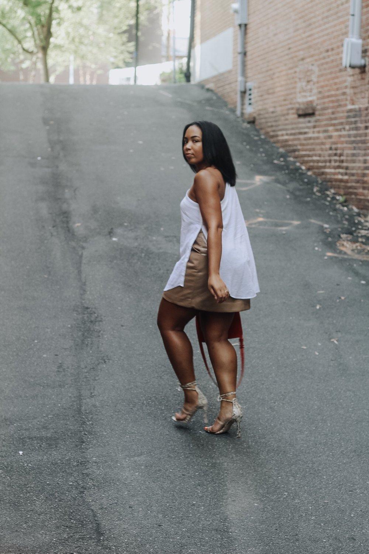 ASOS-weekday-one-shoulder-blouse-patent-nude-mini-skirt-zara-orange-suede-bag-simmi-shoes-veronica-snakeskin-heels-6.JPG