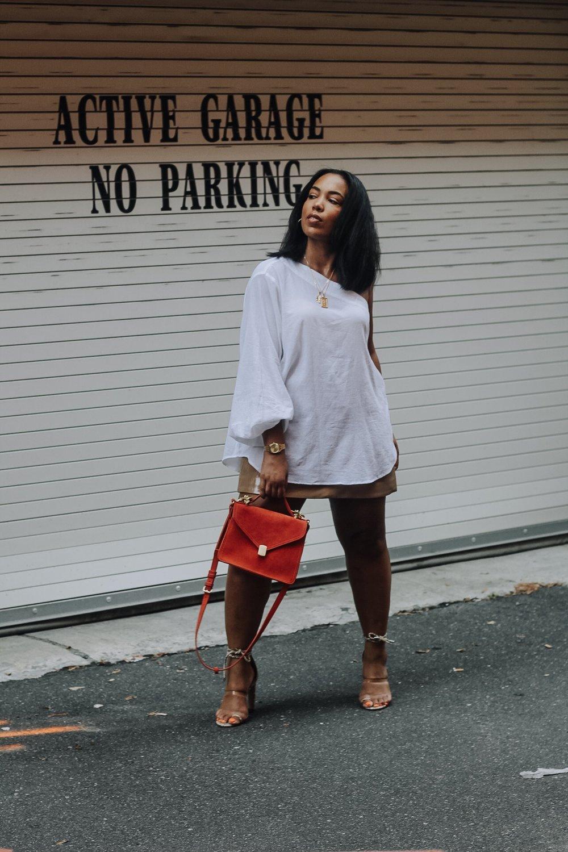 ASOS-weekday-one-shoulder-blouse-patent-nude-mini-skirt-zara-orange-suede-bag-simmi-shoes-veronica-snakeskin-heels-7.JPG