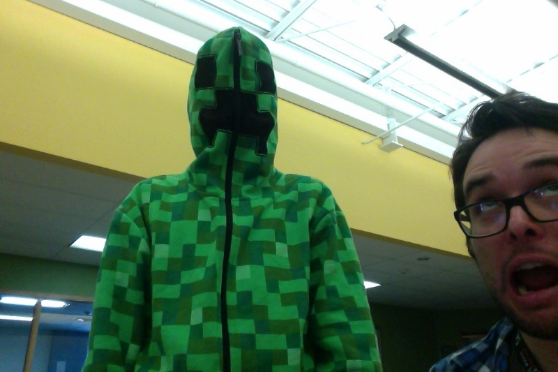 Josh, the Science advisor, and CJ as a Creeper