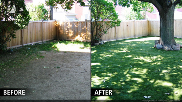 Backyard Before And After before & after — synlawn of northern california