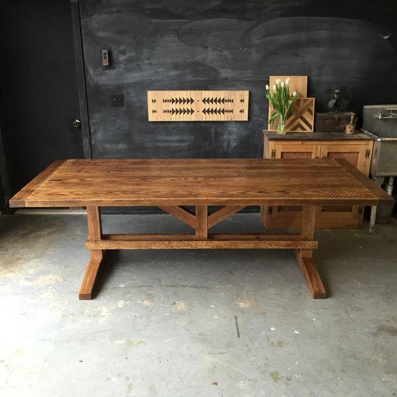 Rough Sawn Red Oak Farm Table