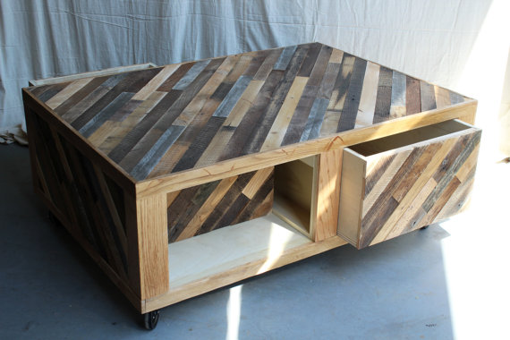 Modern Rustic Coffee Table with Storage on Casters New Antiquity