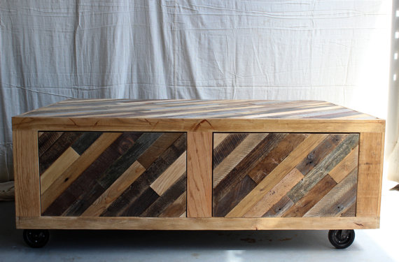 Modern Rustic Coffee Table With Storage On Casters