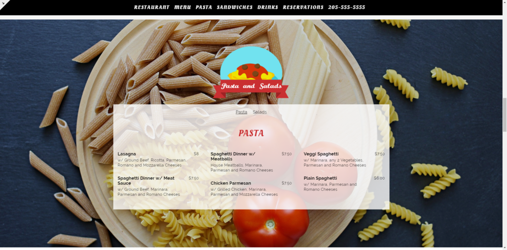 Menu - Menus can be broken into multiple sections and even given tabs so you can display all your delicious offerings.