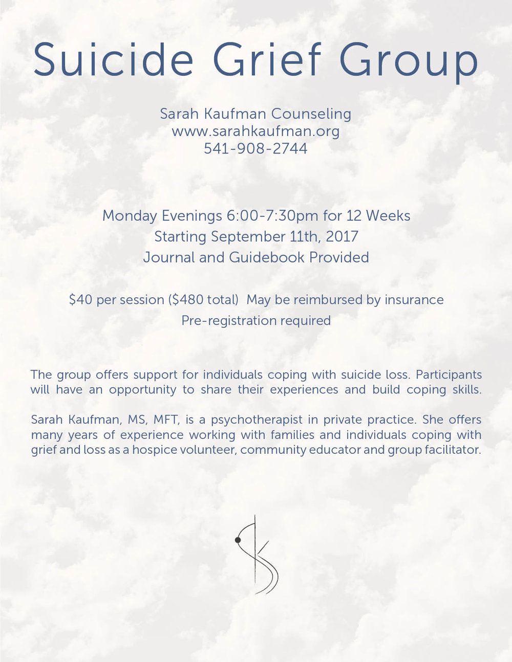 Suicide Grief Group - Sarah Kaufman Counseling - Eugene Oreogn