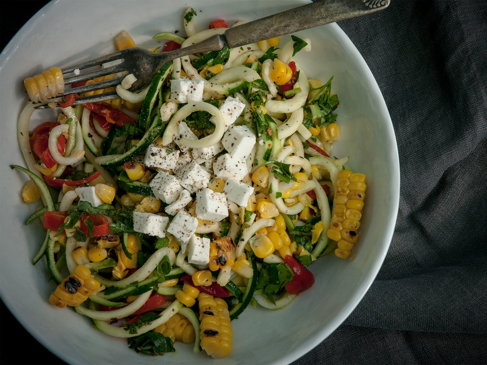 courgette, sweetcorn & feta salad