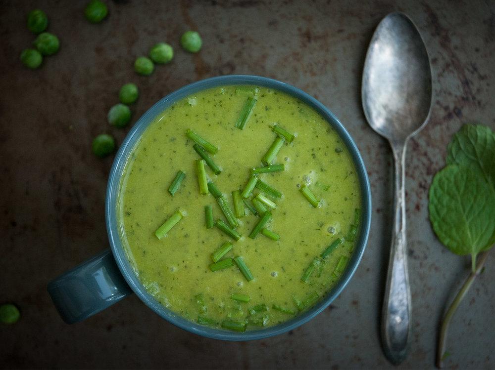 petit pois, mint & parsley soup