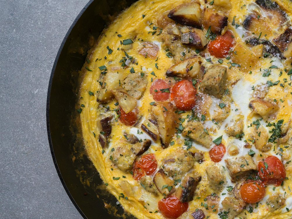 Leftovers Frittata | in this case roast potatoes, sausage stuffing and cherry tomatoes