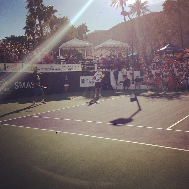 Boris Kodjoe and Sam Querrey up in the next doubles match against LMFAO's RedFoo and Donald Young. #desertsmash