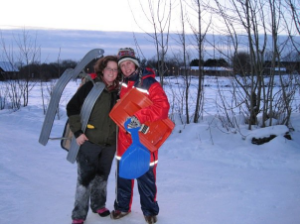 Erin and her host sister sledding in Norway.