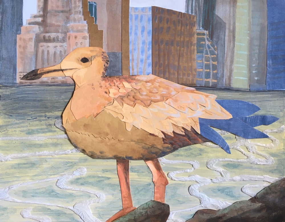"Juvenile Seagull with Cityscape , 11""x 14"", Acrylic with cut paper on panel"