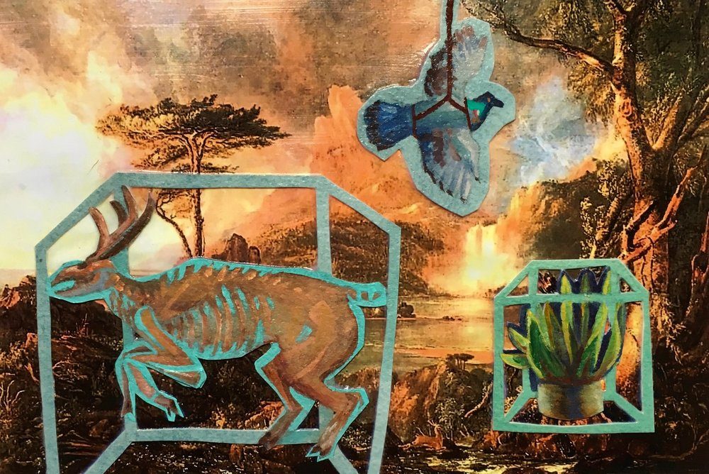 "A Wild Scene with Museum Displays , 6.75"" x 10"", Collage"