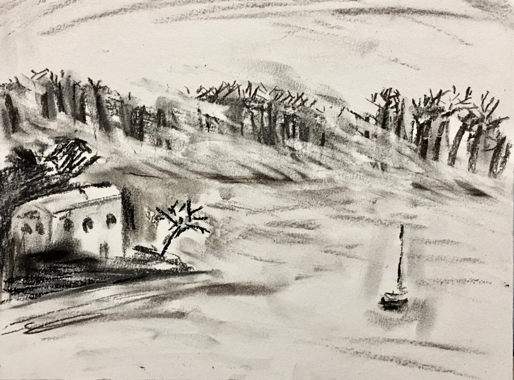 """""""Snowstorm"""", 9""""x12"""", Charcoal on paper, 2019"""