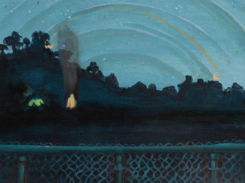 """Night , 9x11"""", Acrylic on paper"""
