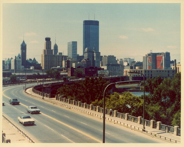 Minneapolis skyline circa 1975. Credit: Minneapolis Photo Collection, Hennepin County Library.