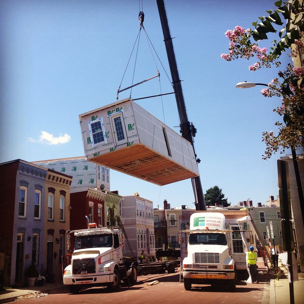 A prefabricated condo development is assembled in the Truxton Circle neighborhood of Washington, DC in August, 2014. Photo credit: Erik Moe