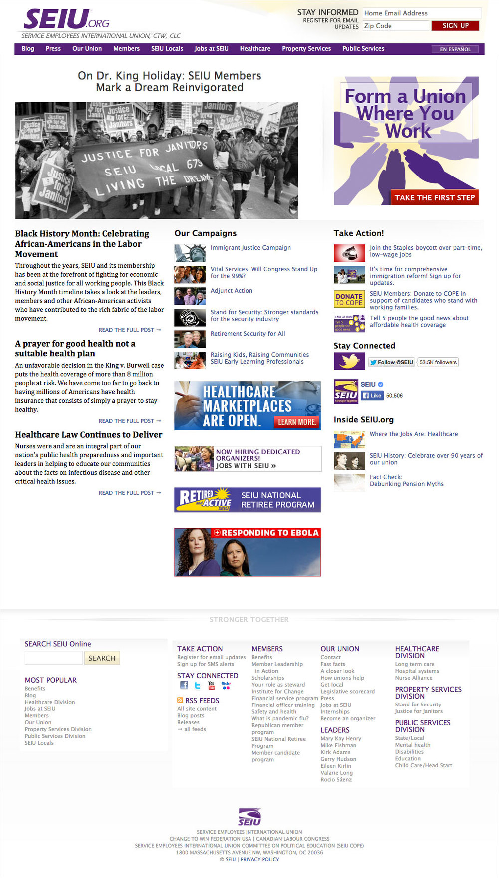 Redesigned SEIU.org with emphasis on action steps and concise access to the top priority activities of the busy 2 million member economic justice nonprofit.