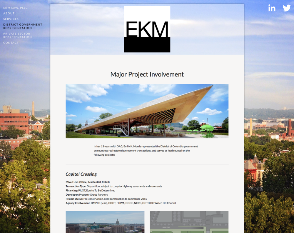 Website design: EKM Law. Design for boutique law practice focused on public-private real estate development.