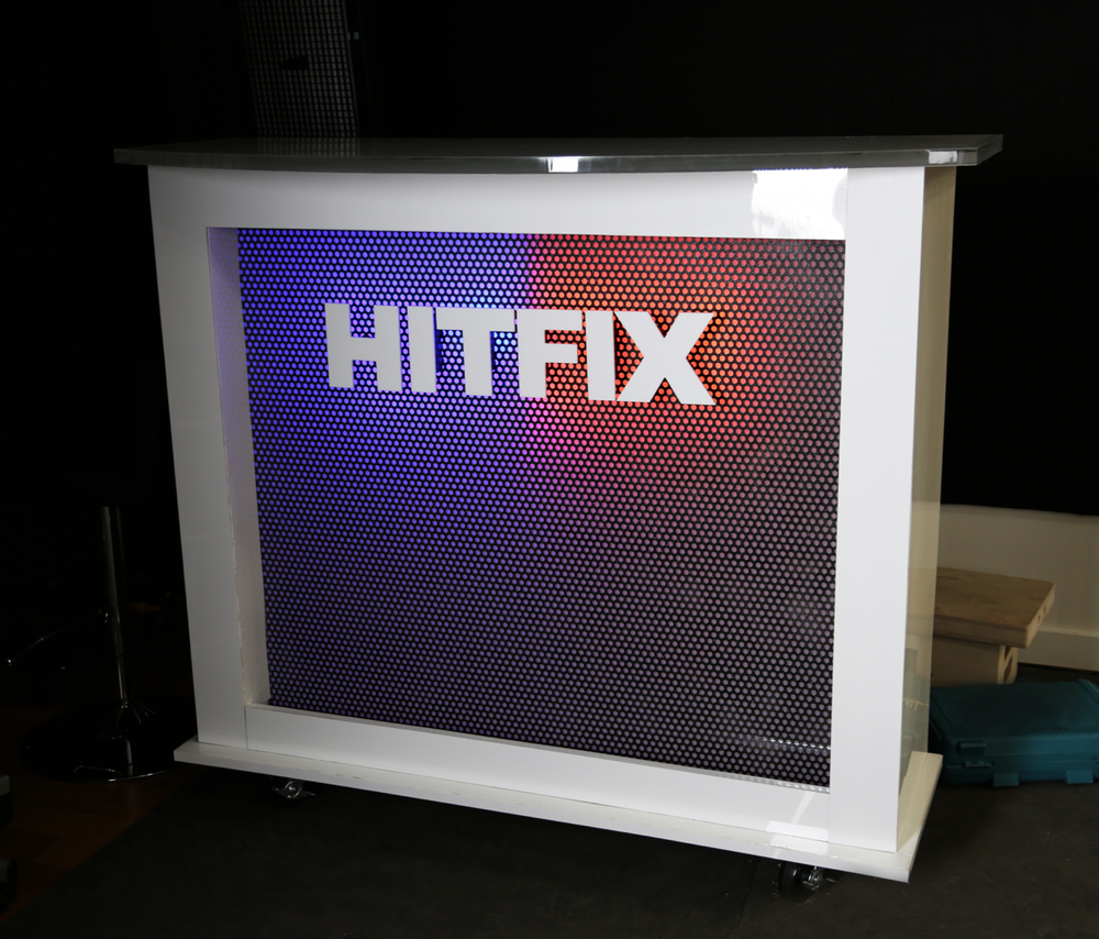 Hitfix desk fabrication - Blue/Orange LED board.    Built w Daniel Phelan
