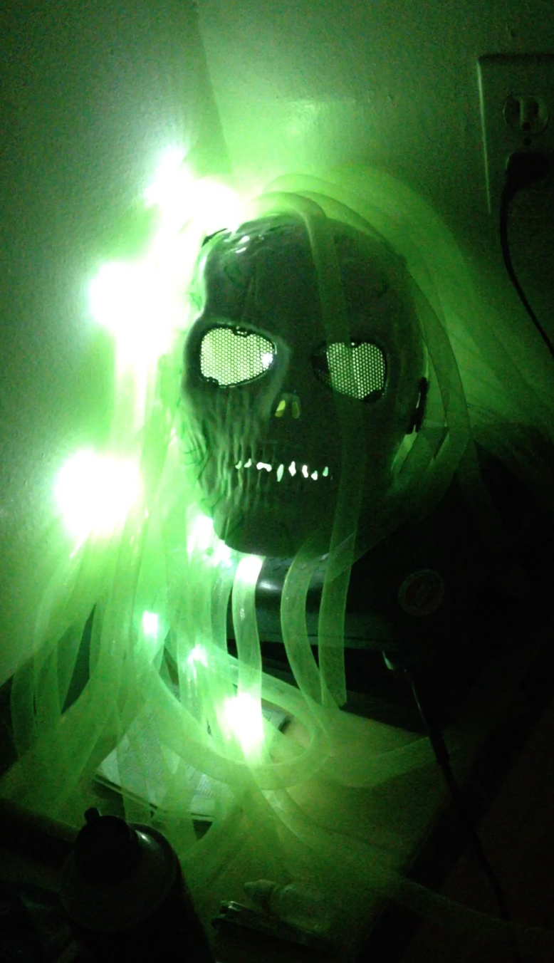 This skull mask sports LED dreadlocks and was made as one piece in a set of six, with varying paint jobs and colored lights.