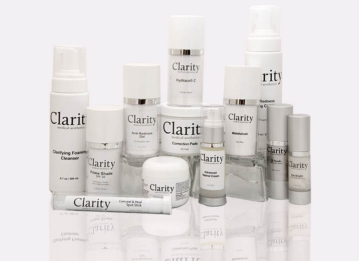 Here at Clarity, we have our own customized line of skin care. Stop by and take a look!