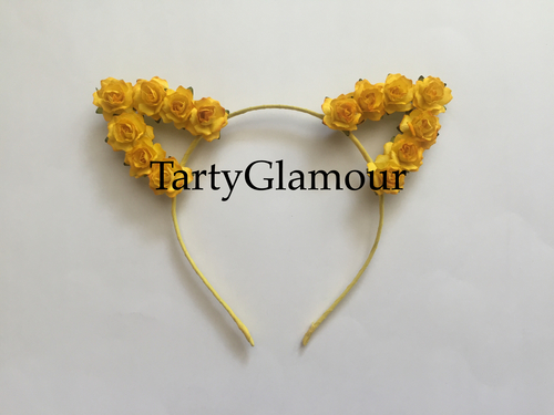 Bright Yellow Rose Cat Ears Headband — Tarty Glamour 1b06034503f