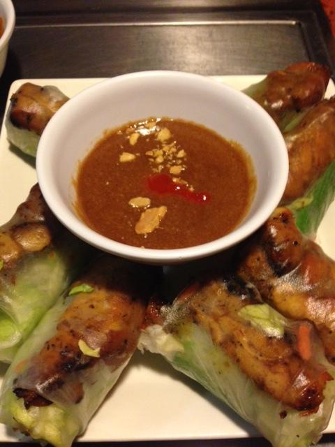 Bbq chicken spring rolls